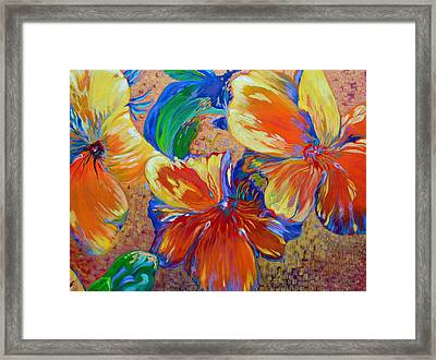 Golden Boiled Flowers Framed Print