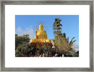 Golden Buddha In Vietnam Dalat Framed Print by Mariia Kilina