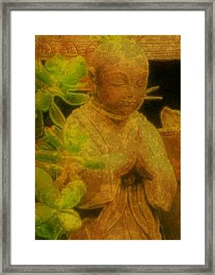 Golden Buddha Framed Print by Jen White