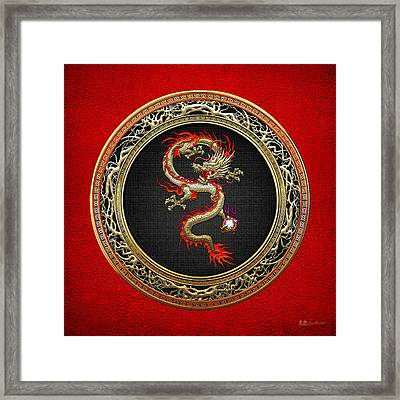 Golden Chinese Dragon Fucanglong On Red Leather  Framed Print by Serge Averbukh