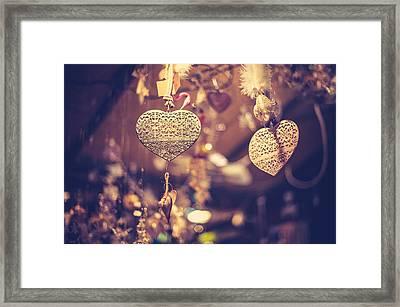 Golden Christmas Hearts Framed Print by Jenny Rainbow