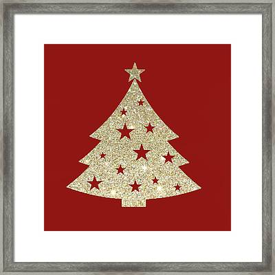 Golden Christmas Tree Framed Print by Art Spectrum