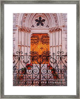 Golden Church Door Framed Print by Lexa Harpell