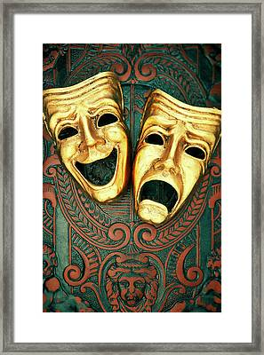 Golden Comedy And Tragedy Masks On Patterned Leather Framed Print by David Muir