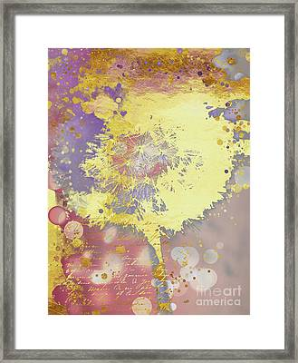 Golden Dreams Abstract Gold Dandelion Framed Print by Tina Lavoie