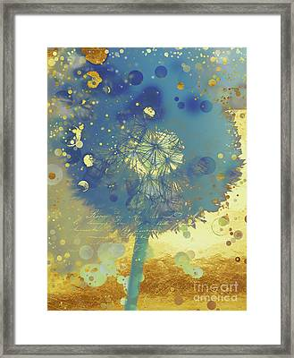 Golden Dreams II Abstract Marine Blue And Gold Dandelion Puff Framed Print by Tina Lavoie