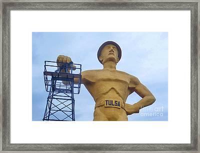 Golden Driller 76 Feet Tall Framed Print by Janette Boyd