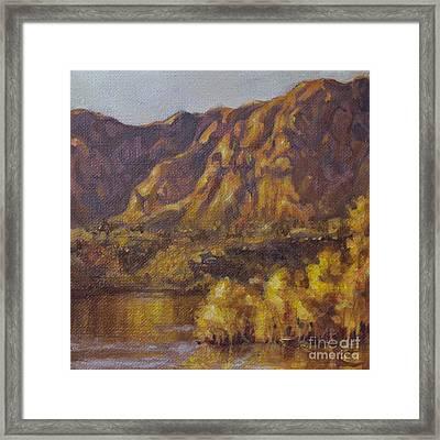 Golden Dusk At Ivins Lake In Utah Framed Print by Kim Marshall