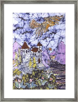 Golden Eagle Flies Above Castle Framed Print by Carol  Law Conklin