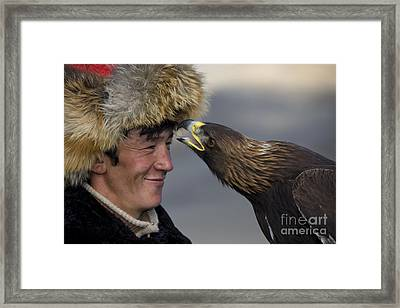 Golden Eagle With Kazakh Falconer Framed Print by Jean-Louis Klein and Marie-Luce Hubert