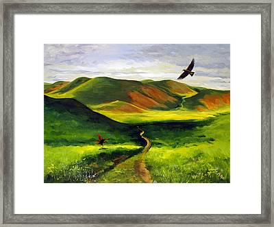 Framed Print featuring the painting Golden Eagles On Green Grassland by Suzanne McKee
