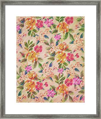 Golden Flitch Digital Vintage Retro  Glitched Pastel Flowers  Floral Design Pattern Framed Print by Philipp Rietz
