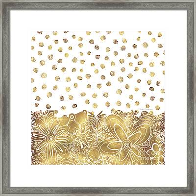 Golden Floral Curly Cue Pattern Chic And Contemporary Trendy Art By Megan Duncanson Framed Print by Megan Duncanson
