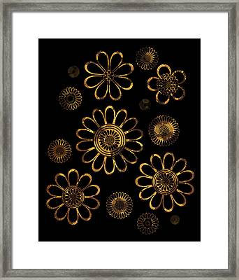 Golden Flowers Framed Print by Frank Tschakert