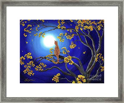 Golden Flowers In Moonlight Framed Print by Laura Iverson