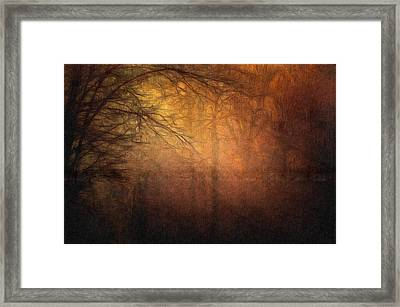 Golden Forest Sunset Landscape Art Painting Framed Print by Wall Art Prints