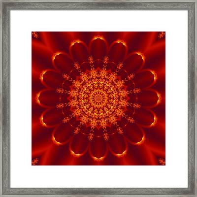 Golden Fractal Mandala Daisy Framed Print