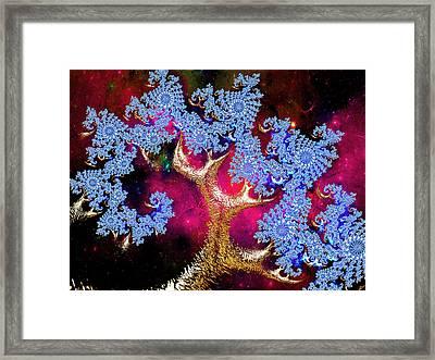 Golden Fractal Tree Framed Print