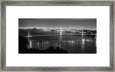 Golden Gate Black And White Panoramic  Framed Print by John McGraw