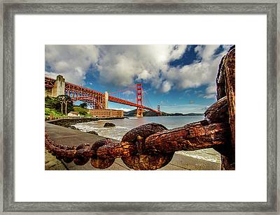 Golden Gate Bridge And Ft Point Framed Print by Bill Gallagher