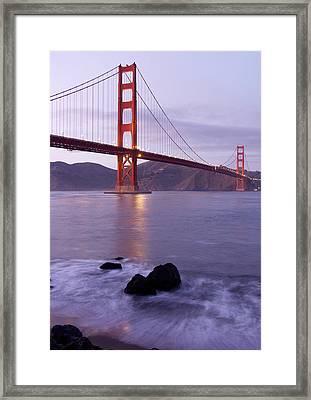 Golden Gate Bridge At Dusk Framed Print by Mathew Lodge