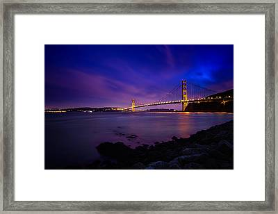 Golden Gate Bridge At Night Framed Print by Ian Good