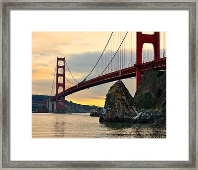 Golden Gate Bridge At Sunset Framed Print by Pamela Rose Hawken