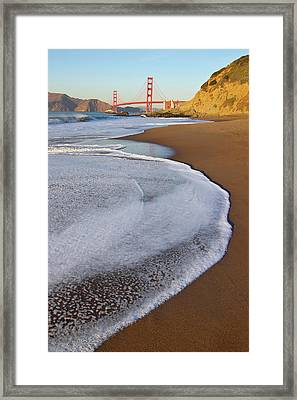 Golden Gate Bridge At Sunset Framed Print by Sean Stieper