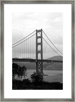 Golden Gate Bridge- Black And White Photography By Linda Woods Framed Print