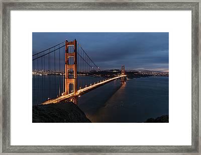 Golden Gate Bridge Blue Hour  Framed Print by John McGraw