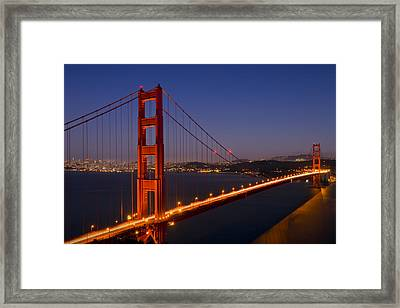 Golden Gate Bridge At Night Framed Print by Melanie Viola