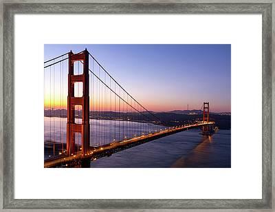 Golden Gate Bridge During Sunrise Framed Print