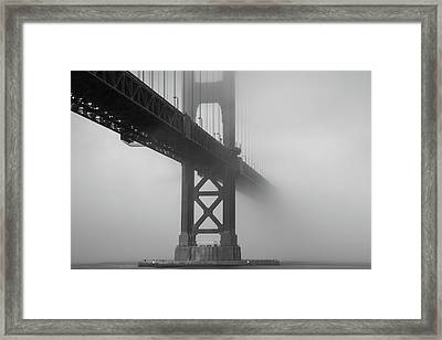 Framed Print featuring the photograph Golden Gate Bridge Fog - Black And White by Stephen Holst