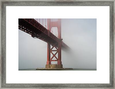 Framed Print featuring the photograph Golden Gate Bridge Fog - Color by Stephen Holst