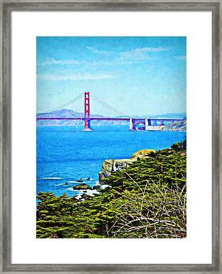 Golden Gate Bridge From The Coastal Trail Framed Print