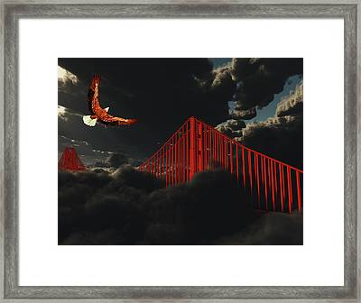 Golden Gate Bridge In Heavy Fog Clouds With Eagle Framed Print
