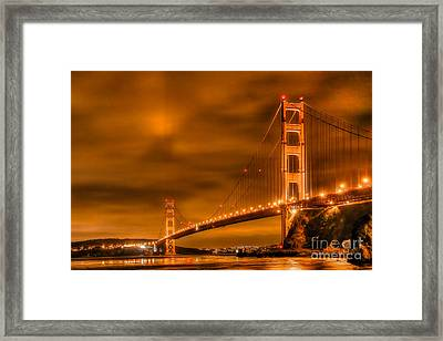 Framed Print featuring the photograph Golden Gate Bridge - Nightside by Jim Carrell
