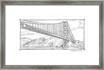 Golden Gate Bridge Sketch Framed Print