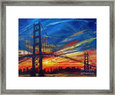 Golden Gate Bridge Sketch Framed Print by Vanessa Hadady BFA MA