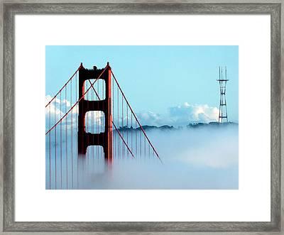 Golden Gate Bridge Tower Fog Antenna Framed Print by Jeff Lowe
