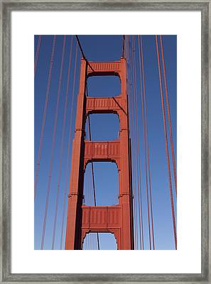 Golden Gate Bridge Tower Framed Print by Garry Gay