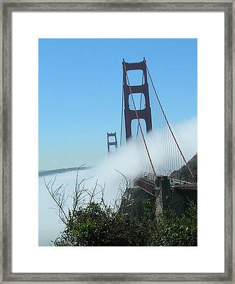 Golden Gate Bridge Towers In The Fog Framed Print by Bonnie Muir