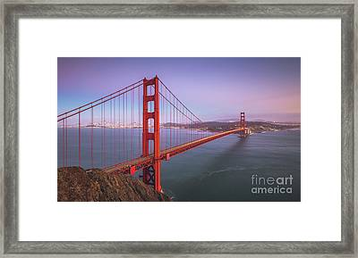 Golden Gate Bridge Twilight Framed Print by JR Photography