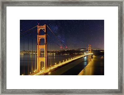 Golden Gate Bridge Under The Starry Night Sky Framed Print by David Gn