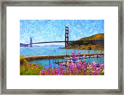 Golden Gate Bridge Viewed From Fort Baker Framed Print by Wingsdomain Art and Photography