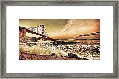 Framed Print featuring the photograph Golden Gate Bridge Waves by Steve Siri
