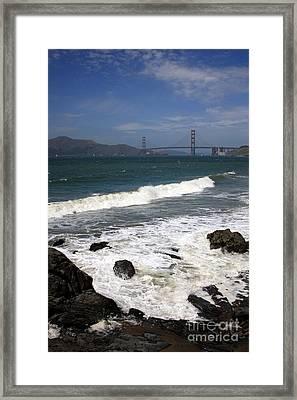 Golden Gate Bridge With Surf Framed Print by Carol Groenen