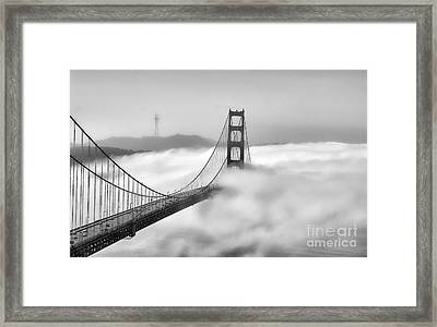 Golden Gate Bw Fog Framed Print by Chuck Kuhn