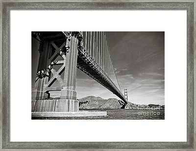 Golden Gate From The Water - Bw Framed Print