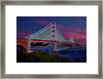 Golden Gate Neon Framed Print by Kelley King
